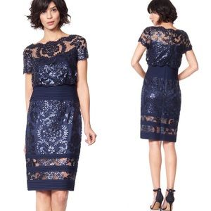 NWT Blouson Waist Paillette Embroidered Lace Dress